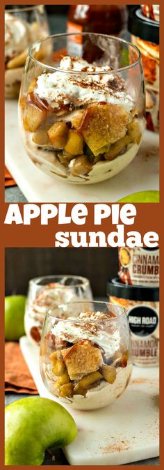 Apple Pie Sundae – High Road Cinnamon Crumble Ice Cream is topped with caramelized cinnamon apples, pie crust chips, and caramel sauce to make for a fun way to eat your favorite pie! #recipe #applepie #sundae #icecream #cinnamon #dessert #apple #caramel #summerrecipe #fallrecipe