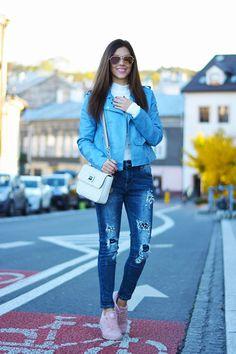 Polish up your holiday look with a blue moto jacket! @AIM STYLE #fauxleather #motojacket #blue #streetstyle #fashion #blogger #outfit #romwe