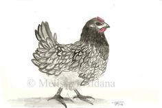 Watercolor Original Myrtle Blue Bell Chicken by AldanaPaintings, $48.00