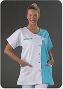Blouse médicale bi couleur blanc et turquoise