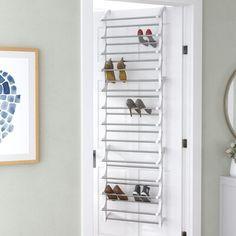 Rebrilliant Lynk® 36 Pair Overdoor Shoe Organizer | Wayfair Shoe Rack Organization, Closet Shoe Storage, Shoe Storage Cabinet, Door Storage, Storage Spaces, Storage Rack, 50 Pair Shoe Rack, Diy Shoe Rack, Shoe Hanger