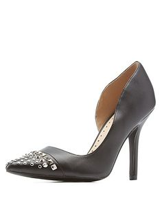 Qupid Studded Pointed Toe Pumps