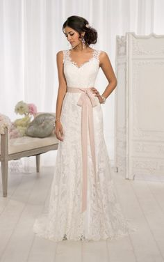 Essense Bridal Collection For brides wanting a vintage wedding dress with a modern update, Essense of Australia has created this lace over Lustre Satin A-line gown. Elegant Wedding Dress, Dream Wedding Dresses, Bridal Dresses, Wedding Gowns, Bridesmaid Dresses, Trendy Wedding, Ivory Wedding, Wedding Ceremony, Wedding Shoes