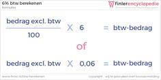 Formule: 6% btw berekenen over een bedrag dat exclusief btw is.