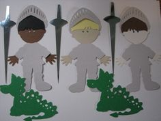 Knight and Dragon paper dolls ... can use Cricut to DIY these.