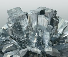 Stibnite with Calcite; Baiut, Maramures, Rumania