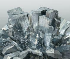 Stibnite with Calcite; Baiut, Maramures, Rumania