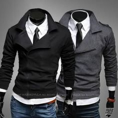 Fashion Men Style Slim Fit Side Zip Sweat Jacket - this site it a Korean designer. lots of clean sharp and edgy designs. sizes are also in Korean, so not for the bigger folks