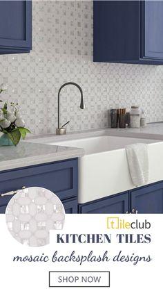 Backsplash For White Cabinets, Glass Backsplash Kitchen, Kitchen Mosaic, White Kitchen Cabinets, Kitchen Redo, Home Decor Kitchen, Kitchen Interior, Home Kitchens, Kitchen Remodel