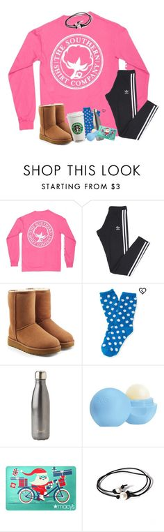"""""""Morning y'all"""" by tinyblueowls ❤ liked on Polyvore featuring adidas, UGG, Aéropostale, S'well, Eos and Joie"""