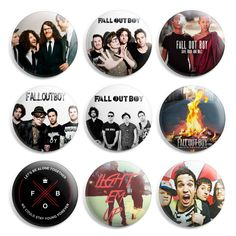 Fall Out Boy Pinback Button Pin Badge (Pack of 9)- 1 inch