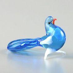 Blue Pigeon Glass Figurine