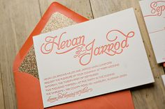 Coral and Gold glitter wedding invitations, letterpress wedding invitations