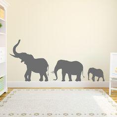 Marching Elephants Wall Decal - Elephant Wall Sticker, Nursery Decal Sticker, Elephant Wall Decor, Elephant Family Decal, Zoo Wall Decal by WallumsWallDecals on Etsy https://www.etsy.com/listing/215569633/marching-elephants-wall-decal-elephant