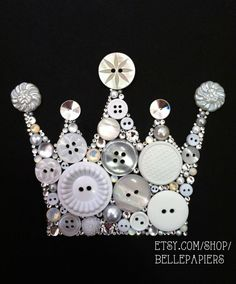 6x6 Button Art Button Crown & Swarovski Crystal Crown Keep Calm and Carry On Art 6x6