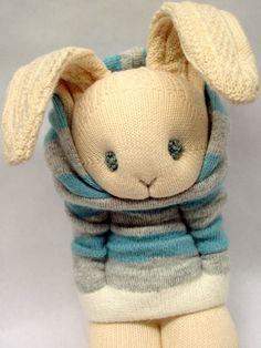 Little Sockamajig Bunny. Little boy in blue.
