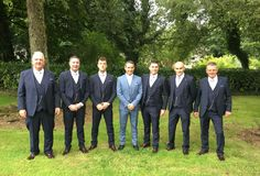 Dean & The Gang:  We had the pleasure of kitting our Dean Deering and his gang of trusted men ahead of Dean & Georgina's big day in the Sligo Park Hotel. Dean went for this stand out Herbie Frogg subtle check and the lads were suited up in this Cusack Benetti Suit. The lads were looking the part, in particular Seanie far right who was literally glowing!😉 Best of luck Dean & Georgina from all the lads @ Ej Menswear ❤️. Park Hotel, Big Day, Dean, Wedding Day, Menswear, Suits, Boys, Check, Pi Day Wedding