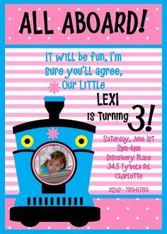 Girls Choo Choo Train Birthday Party Invitation