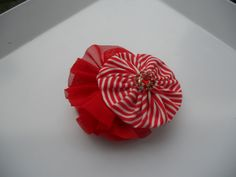 Red and White Yoyo and Chiffon and Lace Clippie by AshleyKBowtique, $7.95