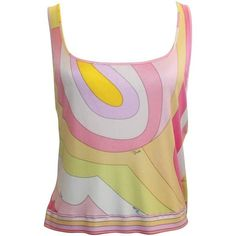 Preowned Emilio Pucci Pink & Orange Silk Jersey Sleeveless Striped... (€315) ❤ liked on Polyvore featuring tops, pink, pink crop top, striped crop top, white tank top, crop tank and white crop tank