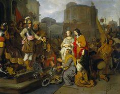 Gerbrand van den Eeckhout | Continence of Scipio, Gerbrand van den Eeckhout, 1650 - 1655 | In een gefantaseerd architecturaal decor staat Scipio tussen zijn mannen op een bordes. Ervoor staat de vrouw die hem was aangeboden met haar geliefde. De ouders van de vrouw knielen voor de veldheer en bieden hem gouden en zilveren voorwerpen aan, waaronder de befaamde drinkhoorn van Adam van Vianen.