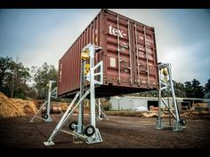 Introducing the C-Lift M Series, the most affordable container lifting jack in the BISON range. Container Transport, Container Van, Sea Container Homes, Container Office, Building A Container Home, Container Buildings, Container Architecture, Cargo Container, Container House Design