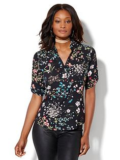 Shop Soho One-Pocket Soft Shirt - Floral . Find your perfect size online at the best price at New York & Company.