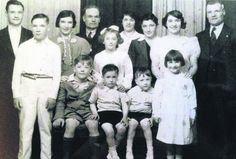 The King family, on the occasion of Sally's (front right) First Holy Communion c. 1938. Back: Peter, Alice, Andy Snr, Mary, Andy Jnr, Maureen and Paddy. Front: Sean, Michael, Larry, Kevin and Sally