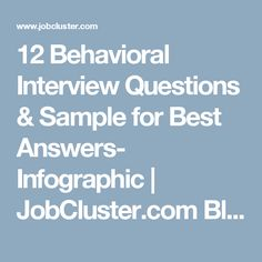 12 Behavioral Interview Questions & Sample for Best Answers- Infographic  | JobCluster.com Blog