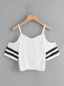 Buy Strappy Stripe Sleeve Knotted Tee