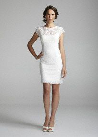 rehearsal dress: Versatile and delicate, this is the ideal little white dress for any occasion. Short lace dress features cap sleeves and an exposed zipper back detail. Fully Lined. Dry Clean Only. Short Lace Wedding Dress, Wedding Dress Sizes, Wedding Dress Sleeves, Bridal Wedding Dresses, Dresses With Sleeves, Cap Sleeves, Wedding Reception, Ivory Wedding, Bridesmaid Dresses