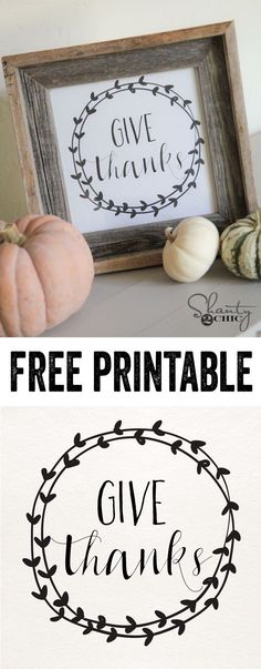 Give Thanks Free Printable! is part of Thanksgiving crafts Vinyl - Give Thanks Free Printable art by Thanksgiving Crafts, Thanksgiving Decorations, Fall Crafts, Holiday Crafts, Holiday Fun, Diy Crafts, Free Thanksgiving Printables, Thanksgiving Sayings, Holiday Pics