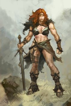 An actual female version of the typical barbarian warrior in a loincloth, which is very rare (no, Red Sonja is not the female equivalent of Conan). Barbarian Warrior, Barbarian Woman, Conan The Barbarian, Paladin, Barbarian Dnd, Viking Warrior, Fantasy Warrior, Fantasy Rpg, Medieval Fantasy
