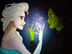 Elsa from Frozen and Elphaba from Wicked drawing by Marion Parajes