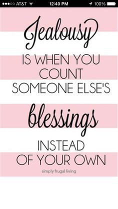 Relize your blessings and be glad for others