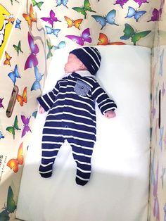 Little one sleeping in his University Hospital Limerick Baby Box in Ireland.