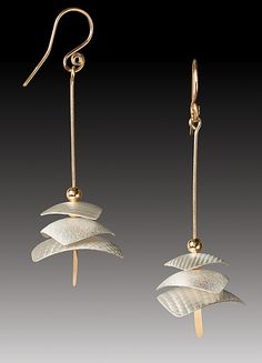 Pagoda Drops by Carolyn Zakarija: Gold & Silver Earrings available at www.artfulhome.com