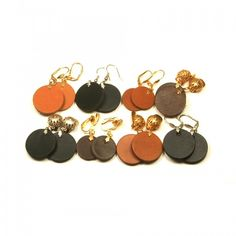 Leather earrings, small circles