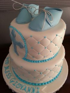 Baby boy christening cake without the shoes