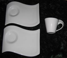 Verdici Swish Snack Set Plates and Cup 1 Cup 2 Saucers / Trays