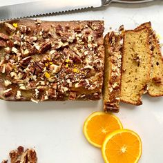 This orange loaf cake is moist and flavourful.  The addition of a teaspoon of nutmeg as well as pecan nuts to finish it off, compliments the end product well.
