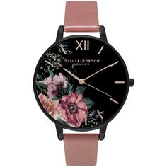 Olivia Burton OB15FS60 Women's After Dark Leather Strap Watch, Dark... ($105) ❤ liked on Polyvore featuring jewelry, watches, accessories, bracelets, rose watches, olivia burton watches, floral watches, leather strap watches and olivia burton