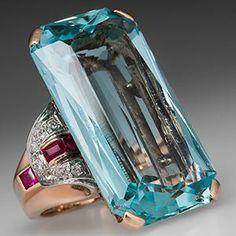 Vintage 49 Carat Aquamarine Ruby & Diamond Cocktail Ring 14K Rose Gold & Platinum 1940's - EraGem