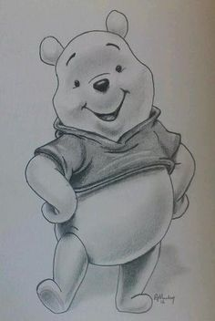 Original pencil drawing of WINNIE THE POOH