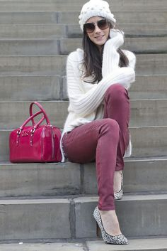 so comfy- adore the raspberry Kate Spade bowler bag as well