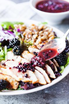 Look at the flavor combo in this Blackberry Chicken Salad! Blackberry Salad, Beef Recipes, Chicken Recipes, Cooking Recipes, Salad Recipes, Chicken Salads, Turkey Recipes, Balsamic Chicken, Chicken