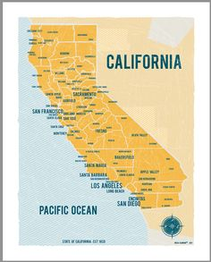 "VassiSlavova California Map 16""x20"" Yellow- Vintage style poster"