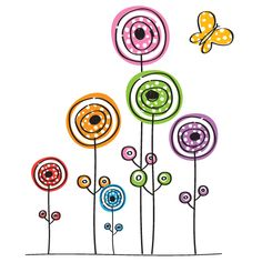 Flowers and Butterfly -great idea for Kidlet's art journal Doodle Art, Doodle Drawings, Flower Doodles, Free Graphics, Art Plastique, Rock Art, Painted Rocks, Illustration, Coloring Pages