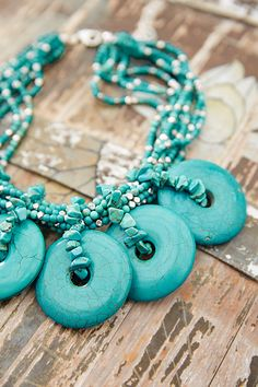 We're having a major turquoise moment. This striking beaded necklace is a testament to our love for color, texture and the necessary element of surprise. Turquoise, metal and acrylic. Jewelry Making Tools, Diy Jewelry, Jewelery, Turquoise Necklace, Beaded Necklace, Necklaces, Chicos Jewelry, Shades Of Turquoise, Beadwork