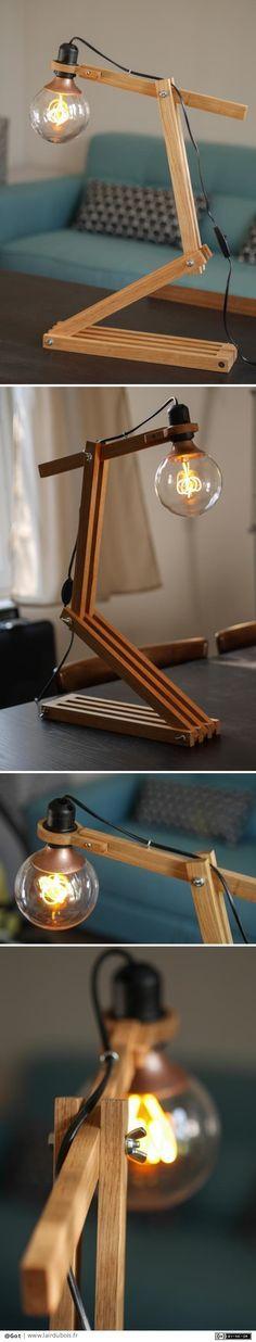 Lampe architecte par Got - Encore une lampe, pour faire un cadeau de Noël aussi. Celle ci est plus classique et inspirée de ce que j\'ai pu voir sur l\'air du bois entre autres. Pas de grosses prouesses techniques, le plus \